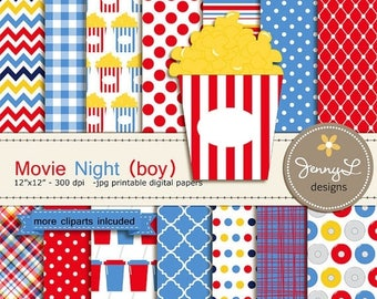 50% OFF Movie Boy Digital Paper and Clipart Popcorn, CD, reel, ticket, Theater, Cinema for Blue Movie Night Birthday, Digital Scrapbooking