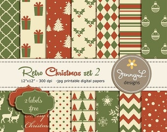 50% OFF Retro Christmas, Christmas Digital Paper, Vintage Christmas Papers, Holiday Digital Scrapbooking Paper, Antique, Red and Green Chris