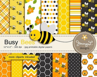 50% OFF Bee Digital papers and Clipart SET, Bumble Bees, Honeycomb, Beehive, Baby Shower, Birthday Scrapbooking Paper Party Theme,