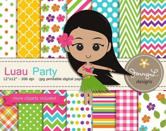 50% OFF Luau Party Digital Paper and Hibiscus Clipart, Hawaiian, Coconut Tree, Garland, Flower Wedding, Bridal Baby Shower, Birthday Party,