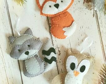 Fox, owl and raccoon felt decorations, woodland creatures, felt animals, home decor, woodland decorations