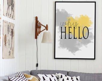 Why Hello printable, Why hello print, Wall art prints, Typography print, INSTANT DOWNLOAD ART, Large wall art, Scandinavian art print