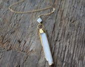 Gold Edged Selenite and Moonstone Long Necklace