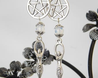 Moonstone Goddess Pentagram Earrings – Wicca - Pagan