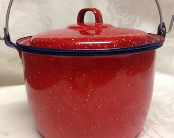 Red Enamelware Bucket with Lid and Handle