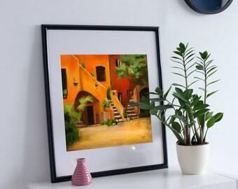 Rome print, Wall Art Print of Original Oil Painting, Original contemporary art, wall decor