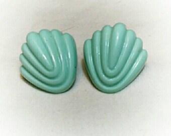 Vintage 40s Mint Green Celluloid Pierced Earrings