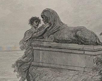 1884 The Raven By Edgar Allen Poe Original Gustave Dore #DorePoe9