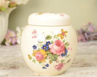Vintage ginger jar with lid, glazed ceramic with pretty pink traditional country floral design