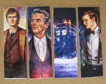 "set of 4 bookmarks ""bookmark"" doctor who ten eleven twelve tardis tennant smith capaldi geek sf"