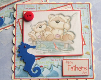 Fathers Day Card Toppers Fizzy Bear goes FIshing father & son  Card Making Toppers for Fathers Day Cards