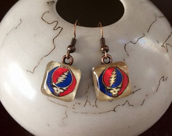 Grateful Dead SYF Earrings/Steal Your Face Earrings/Deadhead Earrings/Upcycled Repurposed Recycled Earrings