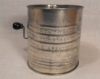 Vintage Bromwell's  Measuring - Sifter.  Guaranteed. Measures Five 5 Cups . Made in U.S.A.