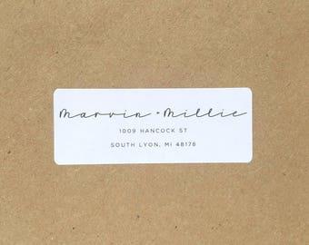 Custom minimalist return address label with calligraphy and modern text