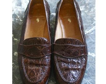 Vintage Ralph Lauren Genuine Alligator Shoes Loafers Brown in Good Condition