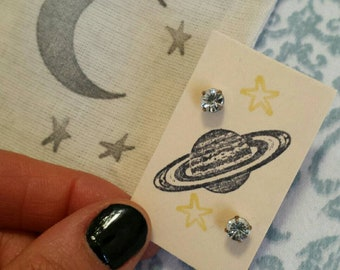 """Sparkly """"Diamond"""" Earrings with Hand Stamped Gift Bag , Vintage 90's , Glam , Classy Studs"""