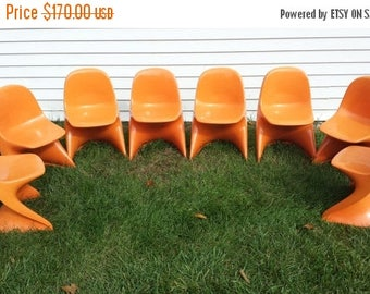ON SALE Vintage Retro 1975 West German Childs  Casalino  Alexander Begge Plastic Stacking Chairs Orange Color Size 1