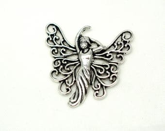 Large fairy charm / Mermaid / wife 1930 silver-plated 25x25mm