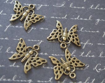 4 Butterfly charms openwork bronze 19x17mm
