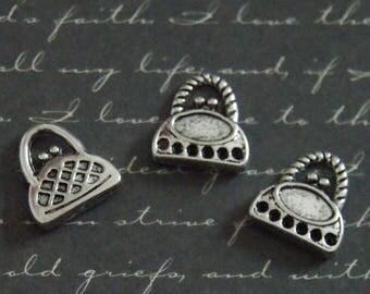 3 charms 14x15mm silver handbag
