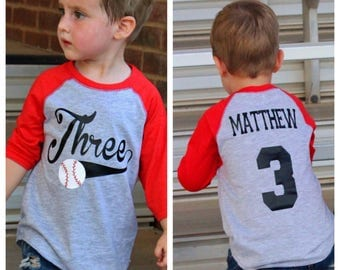 3rd birthday Baseball shirt, 3rd birthday shirt, boys birthday shirt,  baseball t-shirt, baseball birthday party, baseball jersey,