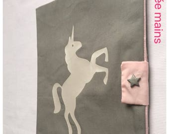 Protects health record cotton grey with silver unicorn