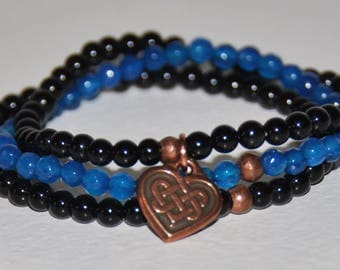 Thin Blue Line Bracelet Set, Genuine Black Onyx, Blue Agate, Copper, Gift For Police Wives, Moms, Law Enforcement, Protection, Courage, more