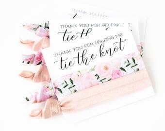 Hair Tie Bridal Shower Favor   Rose Floral Hair Tie Favor, Blush Pink Peonies, Wedding Shower Favor, Light Pink Hair Tie Bridesmaid Gift