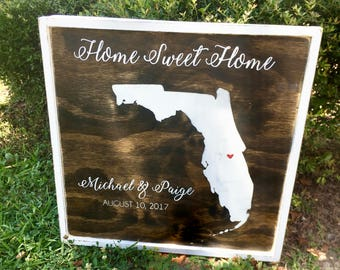 "Home Sweet Home State Sign - Framed Wood Sign Wall Art - 24"" x 24"" - Customized"