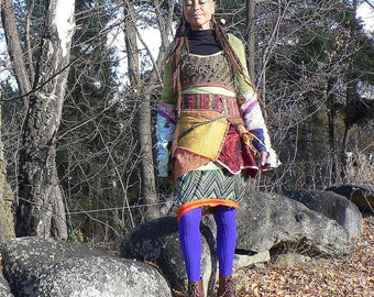dress with multicolored patchwork and braces