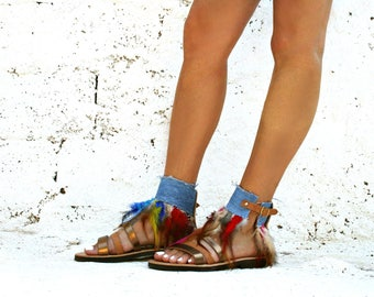 Feather sandals-Jeans shoes-Bird Of Paradise-Best Leather sandals-Stylish shoes