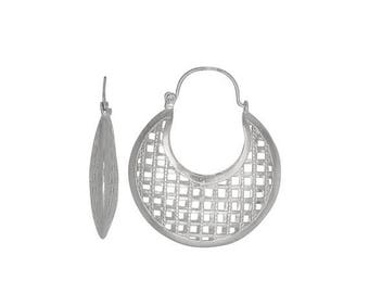 ON SALE Sterling Silver .925 Grid Design, Cut Out Squares Basket Earring (L) | Made in Usa