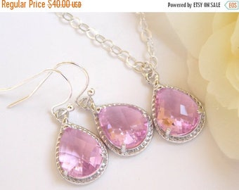 SALE Bridesmaid Jewelry, Pink Earrings and Necklace Set, Light Pink, Rose, Sterling Silver, Weddings Gifts, Wedding Jewelry, Dangle,Gifts, D