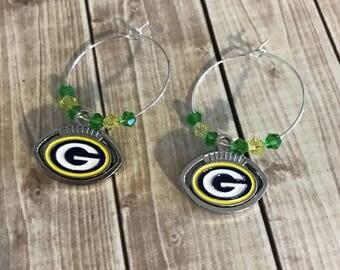 Silver Earrings, Packers Earrings, Pierced Earrings, Green Bay Packers Earrings, Birthday Gift, Packers Jewelry, Packers Football, Green Bay