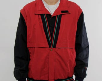 Vintage red and black classic style jacket spring apparel hipster clothing urban street exclusive retro apparel 90s fashion