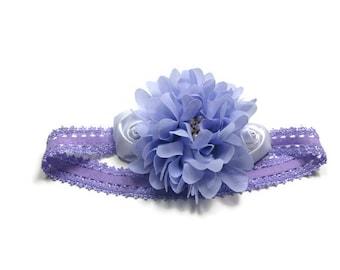 Purple Flower Headband - Easter Headband - Flower Girl Lacy Headband - Photo Prop - Girls Hair Accessory