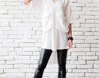 SALE White Plus Size Shirt/Extravagant Asymmetric Tunic/Half Sleeve Oversize Long Top/White Maxi Tunic/Comfortable Work Shirt/Half Sleeve To
