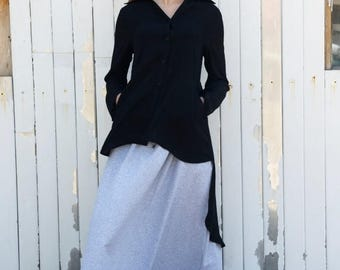 SALE Black Asymmetric Shirt / Loose Tunic / Long Black Top / Black Shirt / Asymmetric Black Top / Extravagant Black Casual Shirt by METAMORP