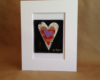 Collage Painting - Rumpled Heart #48