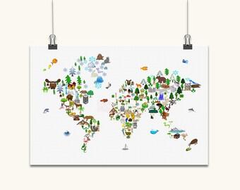 Animal Map of the World Children's Art Print, Canvas Art, Original Artwork, Map Of The World Wall Art Canvas