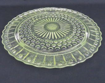 """Shimmery Chartreuse Green Cake Plate - Federal Glass 11 3/8"""" Sunflower Up-Cycled Yellow Green Footed Cake Plate"""