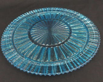 """Shimmery Turquoise Cake Plate -  11"""" Starburst Ribbed Up-Cycled Blue Footed Cake Plate"""