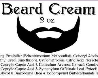 Beard Cream, Unscented, Handmade, 2 oz