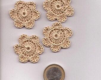 SET OF 10 FLOWERS BEIGE DARK CROCHET FOR SCRAPBOOKING