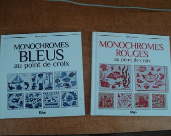 set embroidery cross stitch books: the monochrome blue and Red