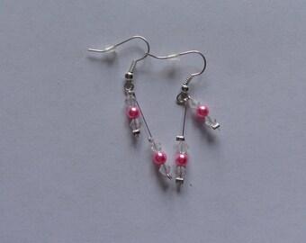 beads Fuchsia crystal wedding earrings