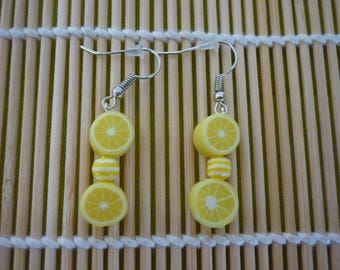 Lemon slices earrings and striped bead.