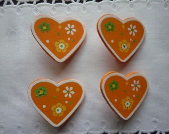 Set of 4 mini clips orange background and flowers wooden hearts.
