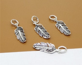 10 Sterling Silver Feather Charms, 925 Silver Feather Charms - JH001