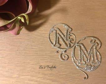 Jewelry marriage initial skin * silver glitter *.